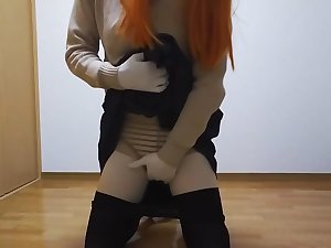 Kigurumi masturbation while smells get under one's socks(school girl, black tights)