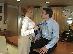 Redhead professional escort Tarra White fucked on burnish apply office cabinet