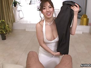 Buxom Japanese angel has skill giving head and she is not roundabout approving with say no to hands