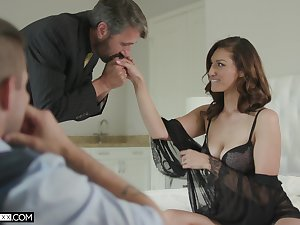 Handsome voyeur is watching old timer fucking his sexy young wife