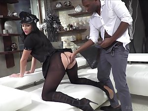 Classy whore in ripped pantyhose together with police uniform Carolina Vogue is fucked apart from two clients