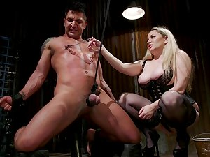 Median MILF Aiden Starr with massive juggs peggs her husband