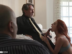Employee is watching his old boss fucking peppery haired young wifey Lacy Lennon