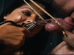 Brutal and racking penis torture by ebony chick Sandra Romain