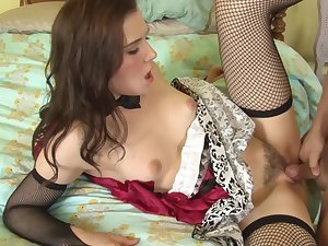 Amateur Kasey Appetizer in sexy unalterable fucked by her lover on the bed