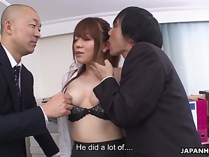 A talented secretary has naughty sex with one men in an office