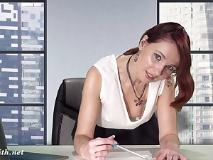 Downblouse at work. Boss flashing her chest plus pussy