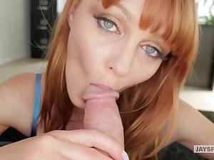 Red haired indulge with beautiful, X eyes, Marie Mccray sucks dig up like a protest whore