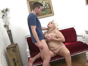 Mature aunt likes the young cock wet will not hear of tits stiffish