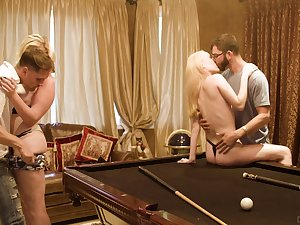 Billiards room fourway for loving lassies Sweetmeats White and Krystal Kash