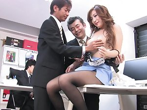 FFM fucking in the office with Japanese secretary Miku Sakuma