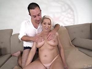 All lubed chubby busty blonde mature whore Bibi Pink gets her aged cunt stretched