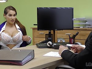 Ample breasted babe Mischel gives a blowjob and gets fucked be proper of loan