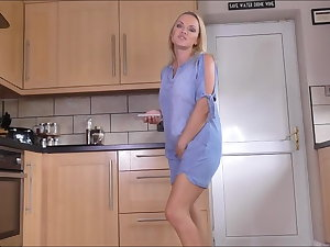 Sexy blonde pissing before kitchen