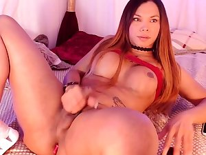 Watch tgirl toy their way nuisance and germ off