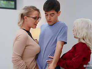 Mommy blows like a porn notability before sharing dick with younger slut