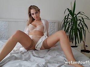 Alone emotional and beautiful hottie in beige stockings Siya masturbates pussy