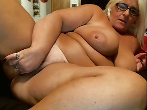 Giant breasted blonde grown-up whore is so into masturbating herself